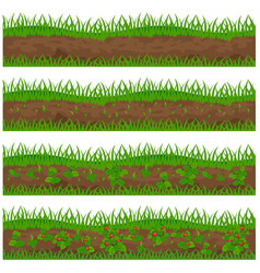 Set of strawberry plantation for a farm isolated vector
