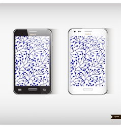 Set of two realistic mobile phone with blue floral vector