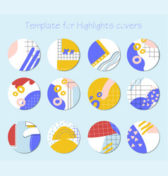 set trendy highlight covers vector image