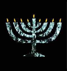 silver chanukaya jewish holiday hanukkah vector image