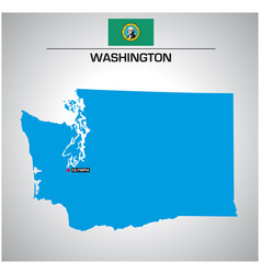 simple outline map washington with flag vector image
