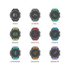 Smart watch functions thin line icons set vector