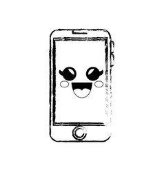 Smartphone phone cartoon smiley vector