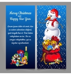 snowman with bag gifts and alcohol vector image