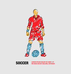 Soccer player stands near ball and prepare for vector