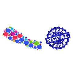 Social network map of nepal with speech clouds and vector