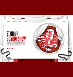 stand up comedy show website landing page vector image
