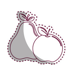 sticker silhouette pear and apple fruit icon stock vector image