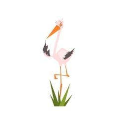 Stork Standing On One Leg Flat Cartoon vector
