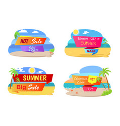 summer hot sale labels set tropical beach palm vector image