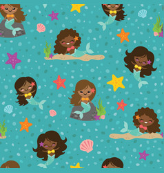 teal people of color mermaid girls seamless vector image