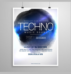 Techno music flyer poster template vector
