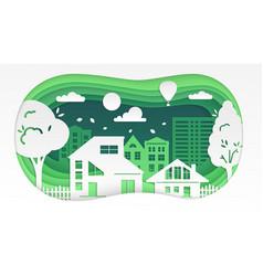 town - modern paper cut vector image
