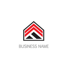 triangle arrow building business logo vector image
