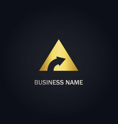triangle arrow right gold logo vector image