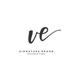 V e ve initial letter handwriting and signature vector
