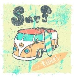 Van surf t-shirt graphics vector