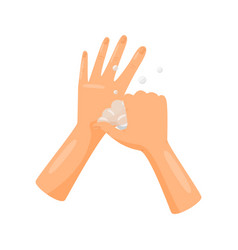 Washing base of thumbs with soap hygiene health vector