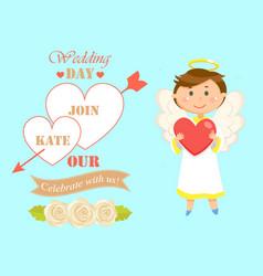 wedding date invitation to ceremony couple vector image