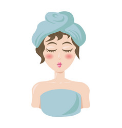 Woman in towels ready to spa procedures portrait vector