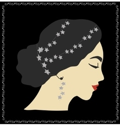 Woman portrait with glittering silver stars in vector
