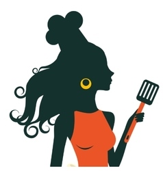 Beautiful cooking woman holding spatula vector image vector image