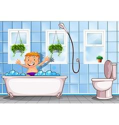 Boy taking a bath in bathroom vector