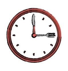 Clock time dinner restaurant fork and knife vector