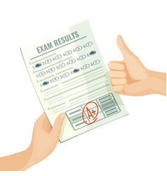 excellent exam results on paper in human hands vector image