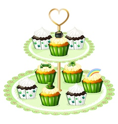 Green cupcakes with a stand vector image vector image