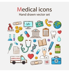 Medical doddle icon set vector image