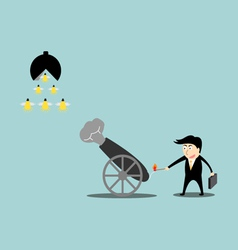 Businessman artillery fire bullet idea vector image