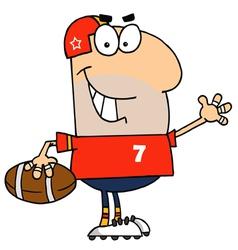 Caucasian Cartoon Football Man vector image