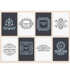 Design corporate cards ornamental linear logos vector image vector image