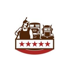 Power Washer Worker Truck Train Stars Retro vector image vector image