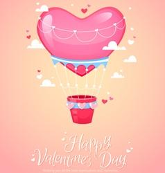 Romantic heart shaped air balloon retro postcard vector image vector image