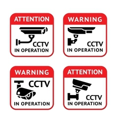 Video surveillance signs set vector image