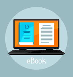 e-book concept laptop with book digital library vector image