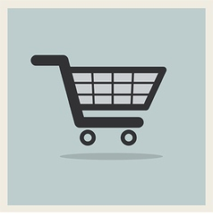 Shopping Cart Icon on Retro Blue Background vector image vector image
