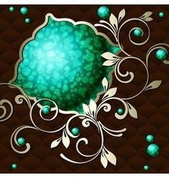 vintage emblem in dark green vector image