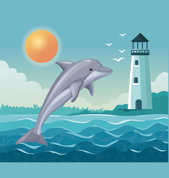 colorful poster seaside with dolphin jump and vector image vector image