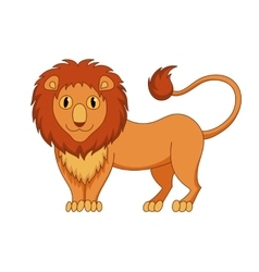 Cute modest cartoon lion with fluffy mane and kind vector image