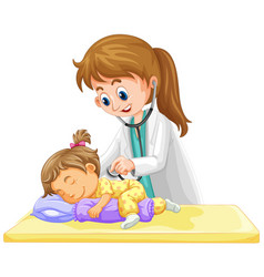 doctor checking up on little toddler girl vector image vector image