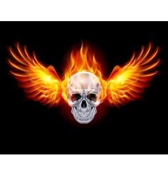 Flaming Chrome metal Skull wings fair 01 vector image vector image