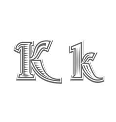 Font tattoo engraving letter k vector
