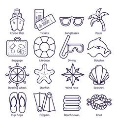 marine set of icons icons isolated on vector image
