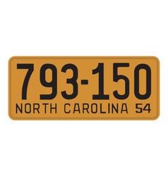 North Carolina 1954 license plate vector image