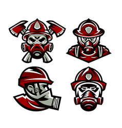 set of colorful logos fire department fireman vector image