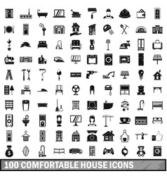 100 comfortable house icons set in simple style vector image