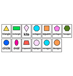 2d shape geometric model word cards for kid vector image